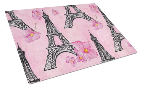 Buy this Watercolor Pink Flowers and Eiffel Tower Glass Cutting Board Large BB7511LCB