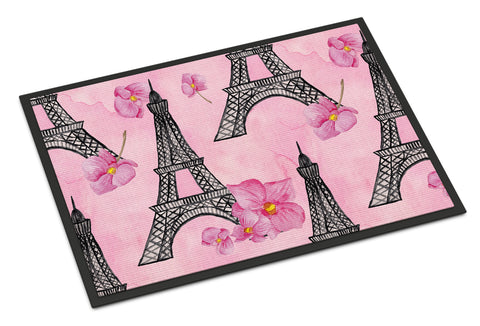 Buy this Watercolor Pink Flowers and Eiffel Tower Indoor or Outdoor Mat 18x27 BB7511MAT