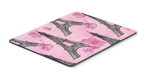 Buy this Watercolor Pink Flowers and Eiffel Tower Mouse Pad, Hot Pad or Trivet BB7511MP