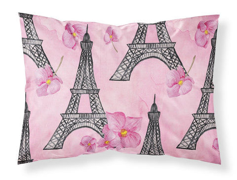 Buy this Watercolor Pink Flowers and Eiffel Tower Fabric Standard Pillowcase BB7511PILLOWCASE