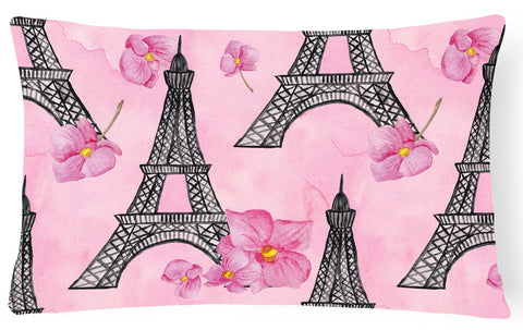 Buy this Watercolor Pink Flowers and Eiffel Tower Canvas Fabric Decorative Pillow BB7511PW1216