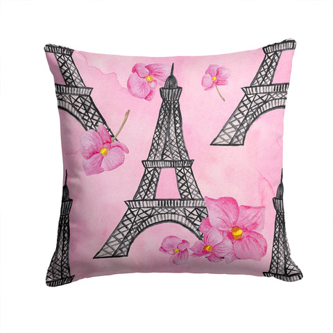 Buy this Watercolor Pink Flowers and Eiffel Tower Fabric Decorative Pillow BB7511PW1414