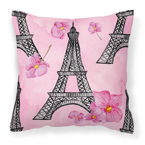 Buy this Watercolor Pink Flowers and Eiffel Tower Fabric Decorative Pillow BB7511PW1818