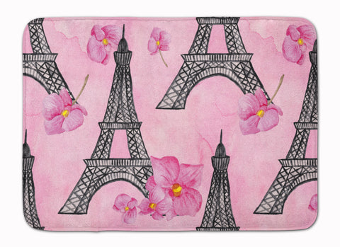 Buy this Watercolor Pink Flowers and Eiffel Tower Machine Washable Memory Foam Mat BB7511RUG