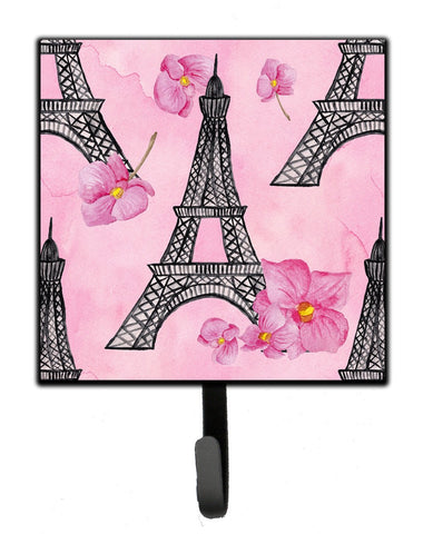 Buy this Watercolor Pink Flowers and Eiffel Tower Leash or Key Holder BB7511SH4