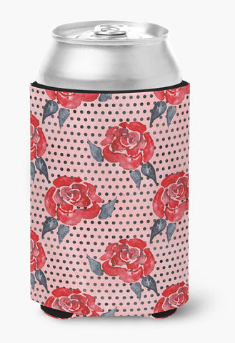 Buy this Watercolor Red Roses and Polkadots Can or Bottle Hugger BB7513CC
