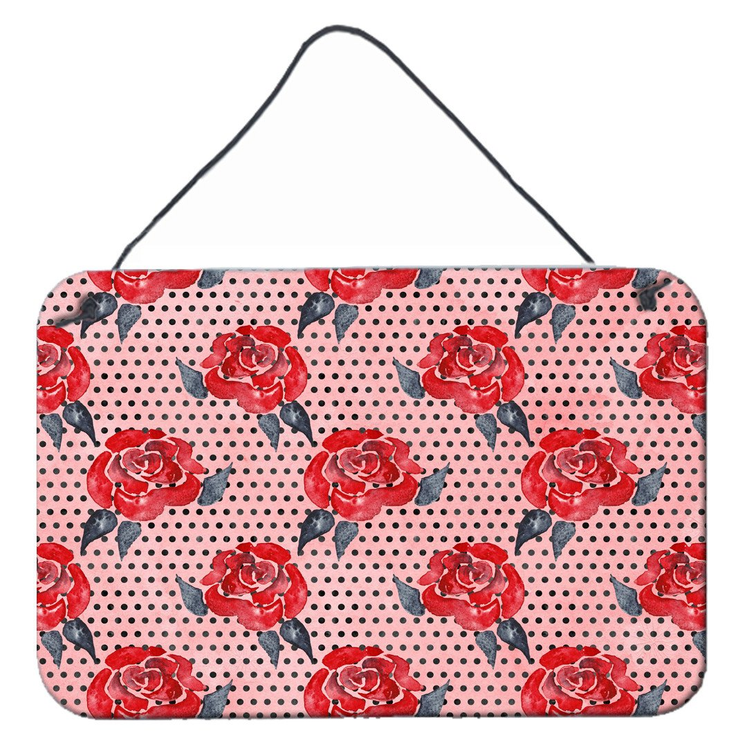 Watercolor Red Roses and Polkadots Wall or Door Hanging Prints BB7513DS812 by Caroline's Treasures