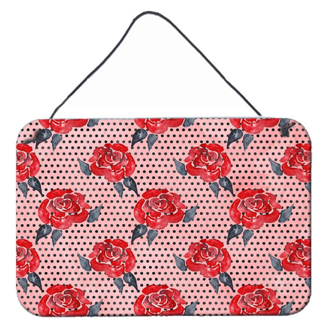Buy this Watercolor Red Roses and Polkadots Wall or Door Hanging Prints BB7513DS812