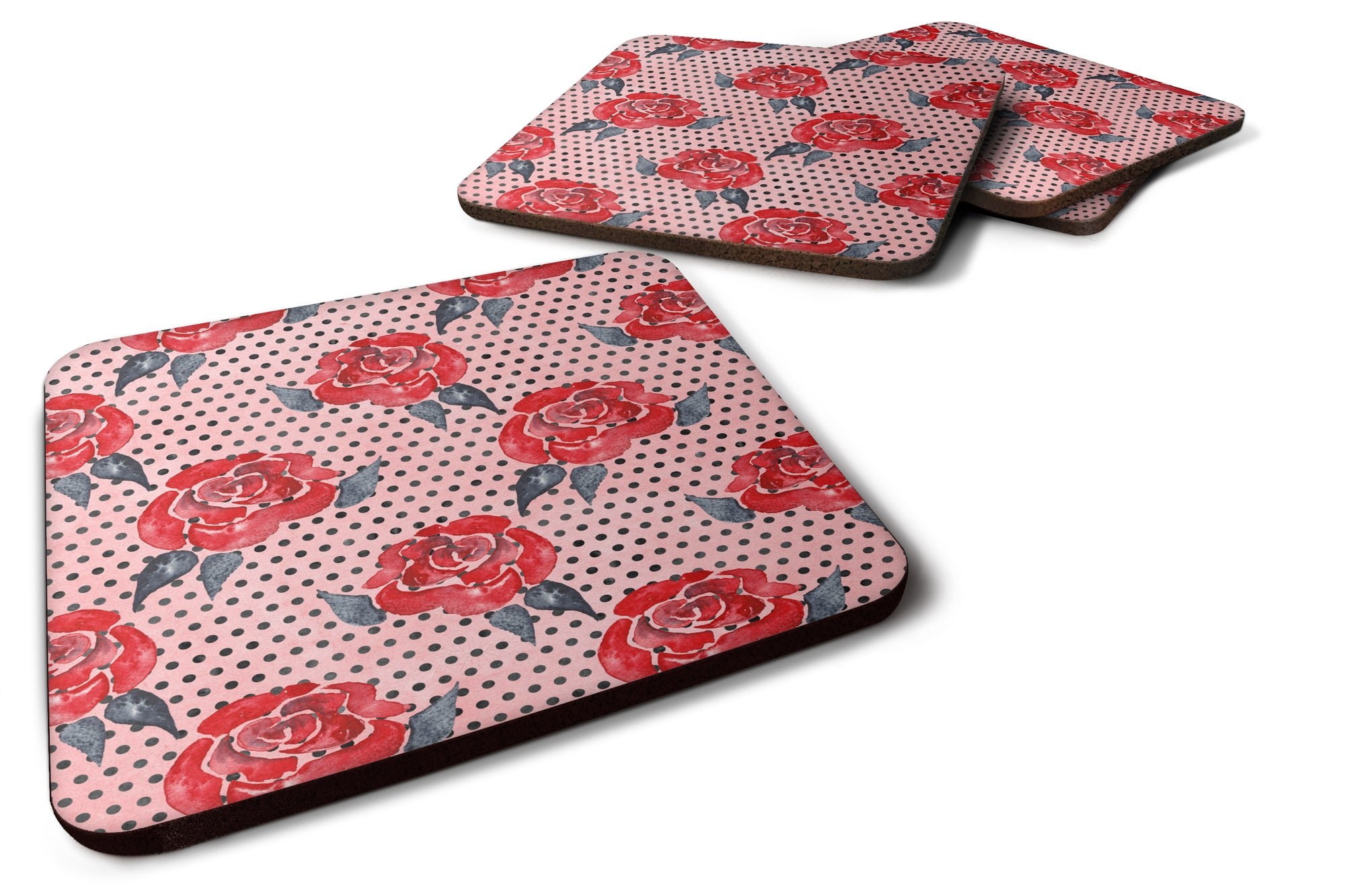 Watercolor Red Roses and Polkadots Foam Coaster Set of 4 BB7513FC by Caroline's Treasures