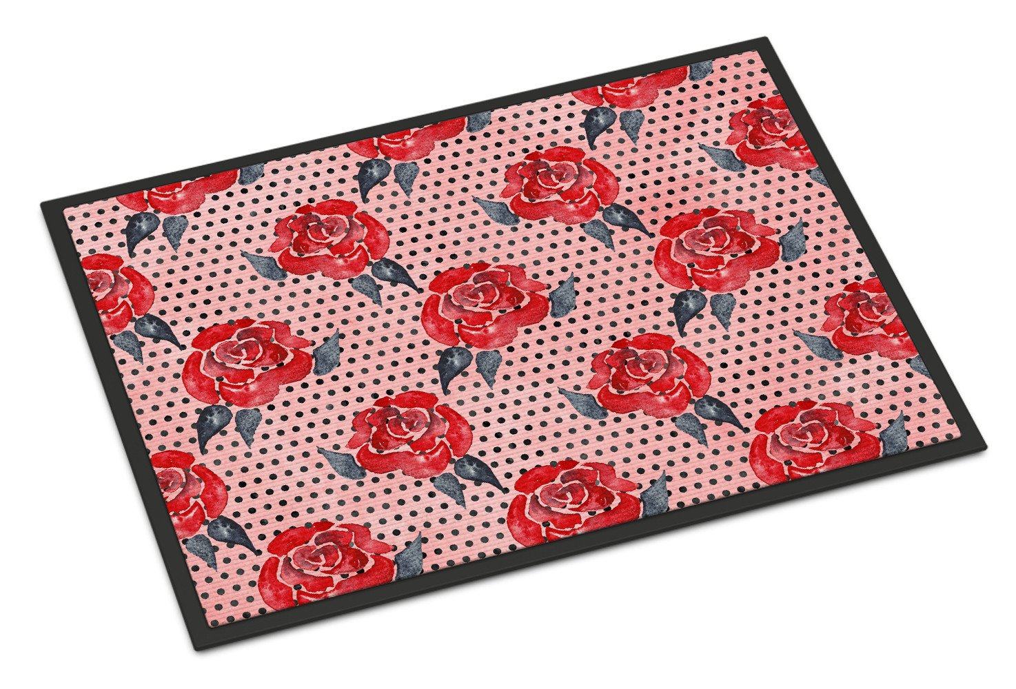 Watercolor Red Roses and Polkadots Indoor or Outdoor Mat 24x36 BB7513JMAT by Caroline's Treasures