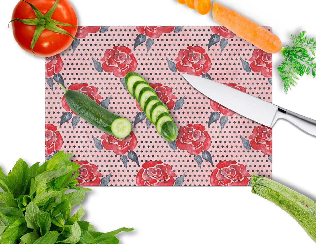 Watercolor Red Roses and Polkadots Glass Cutting Board Large BB7513LCB by Caroline's Treasures