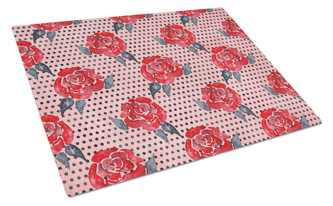 Buy this Watercolor Red Roses and Polkadots Glass Cutting Board Large BB7513LCB