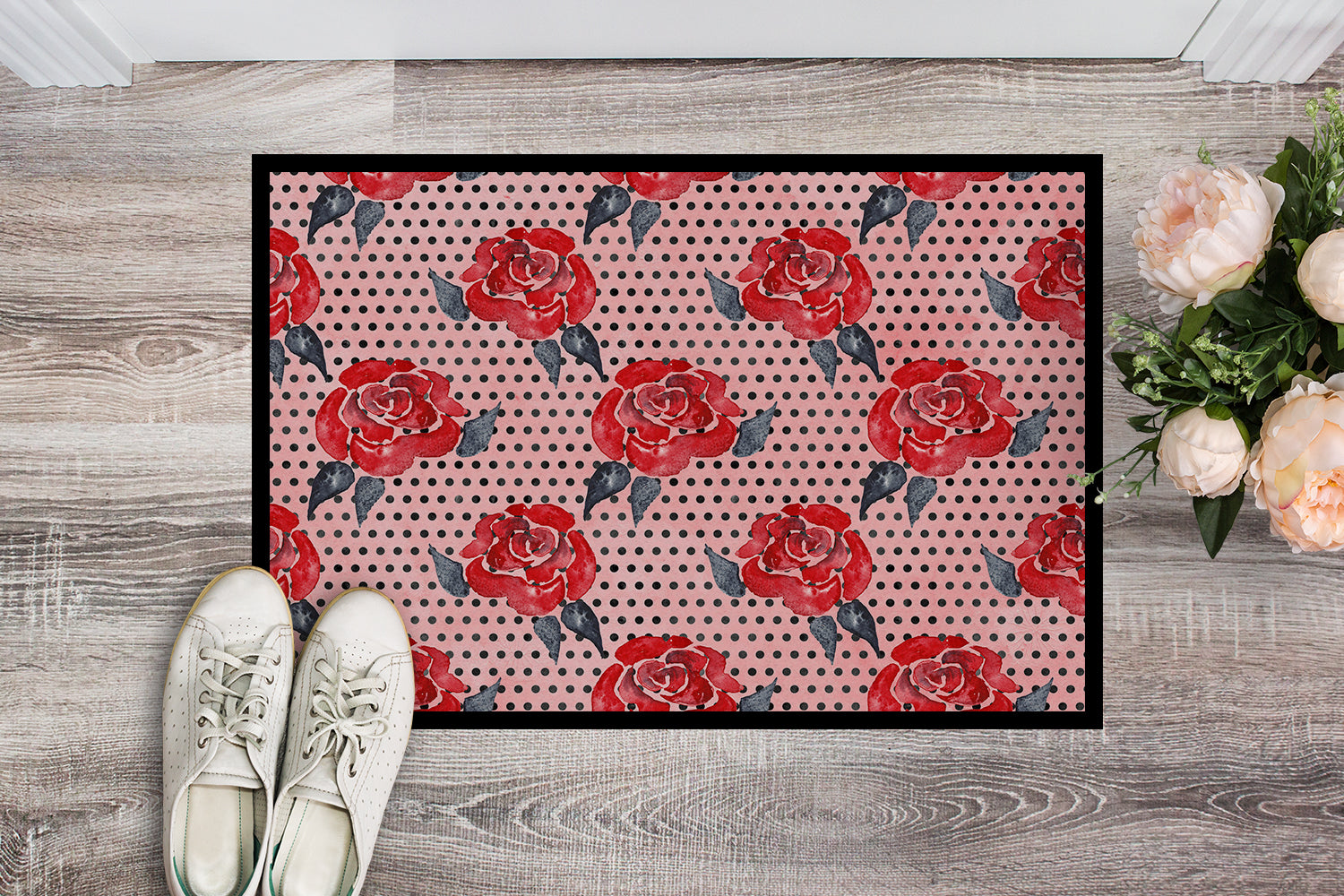 Watercolor Red Roses and Polkadots Indoor or Outdoor Mat 18x27 BB7513MAT by Caroline's Treasures