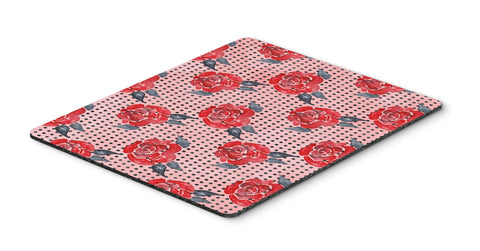 Buy this Watercolor Red Roses and Polkadots Mouse Pad, Hot Pad or Trivet BB7513MP