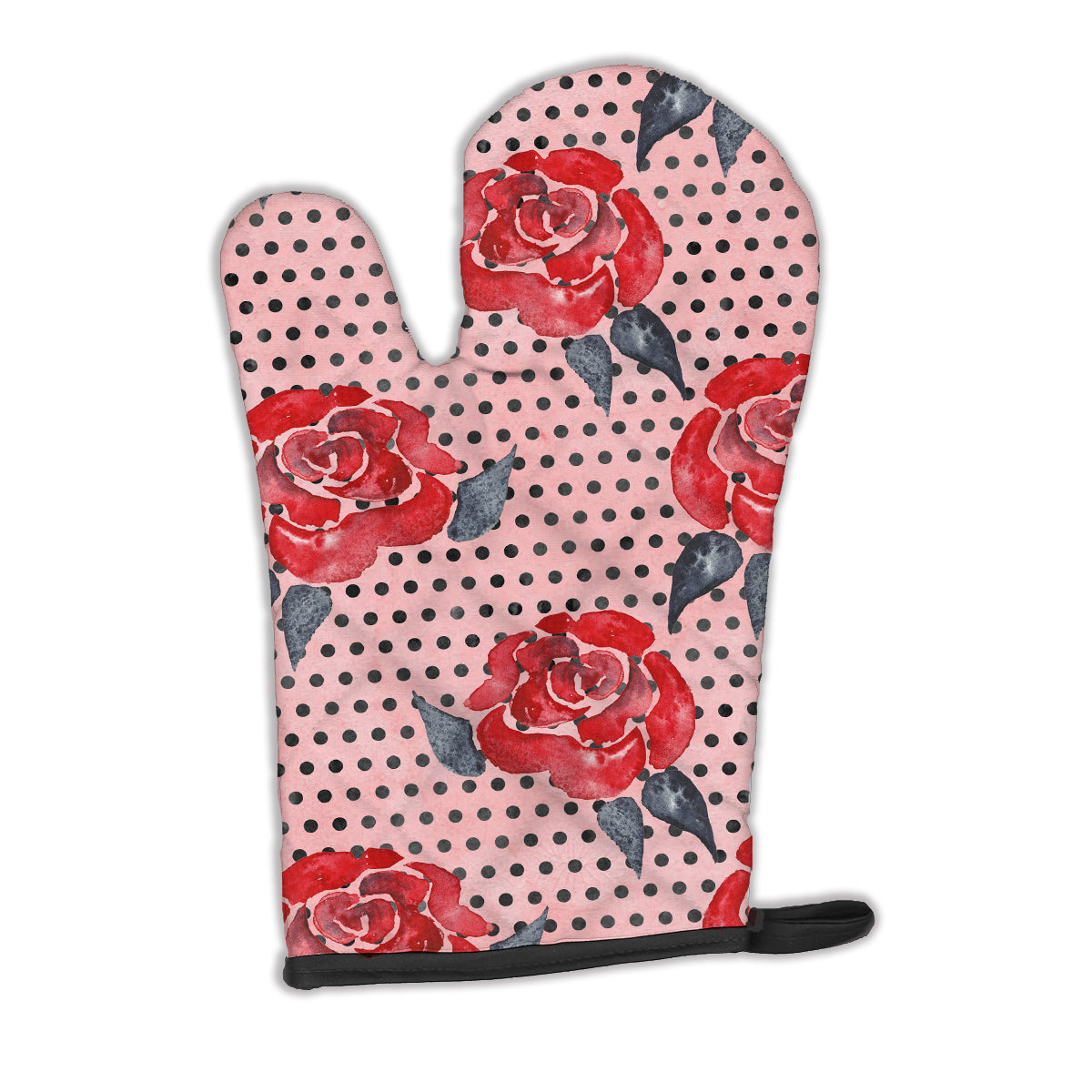 Watercolor Red Roses and Polkadots Oven Mitt BB7513OVMT by Caroline's Treasures