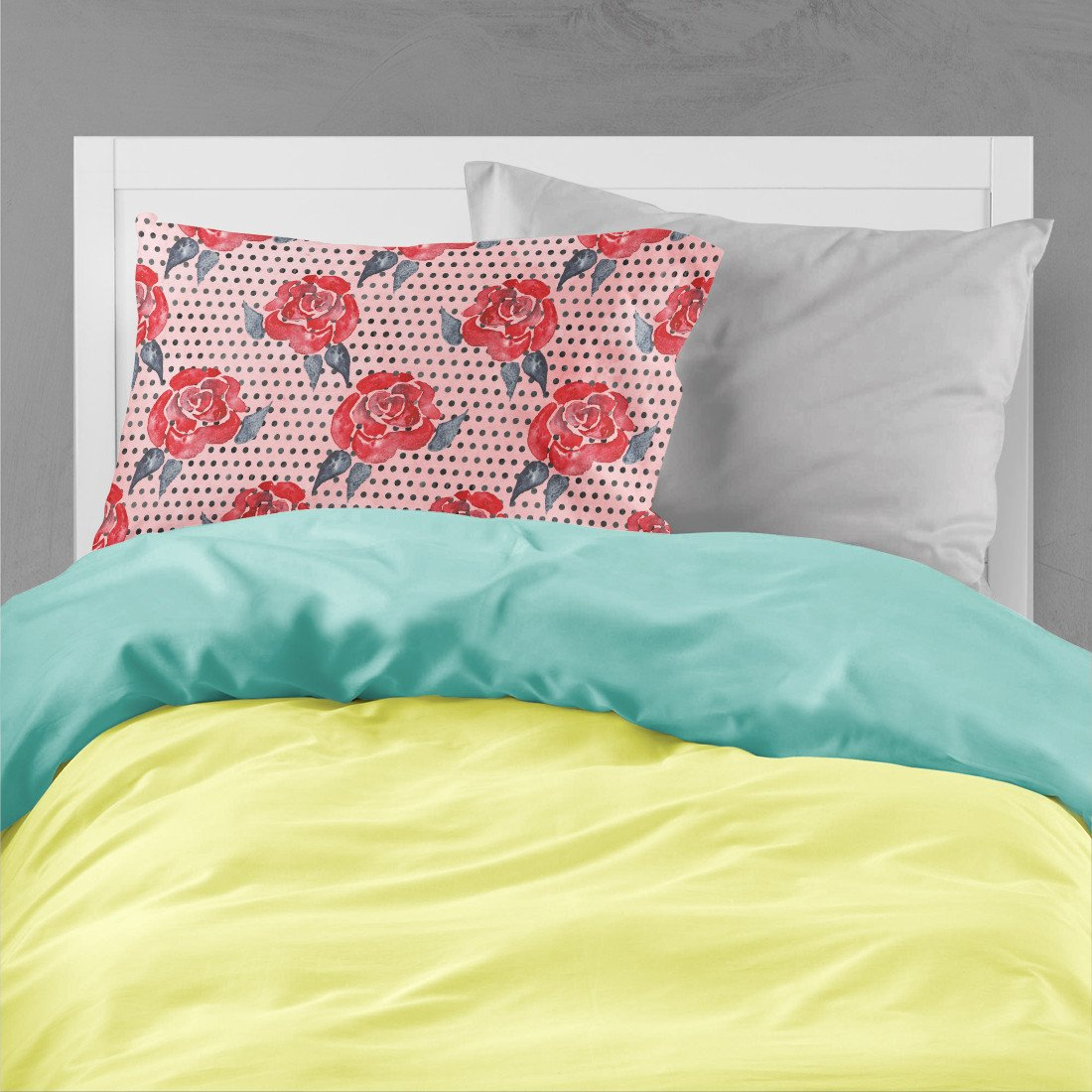 Watercolor Red Roses and Polkadots Fabric Standard Pillowcase BB7513PILLOWCASE by Caroline's Treasures