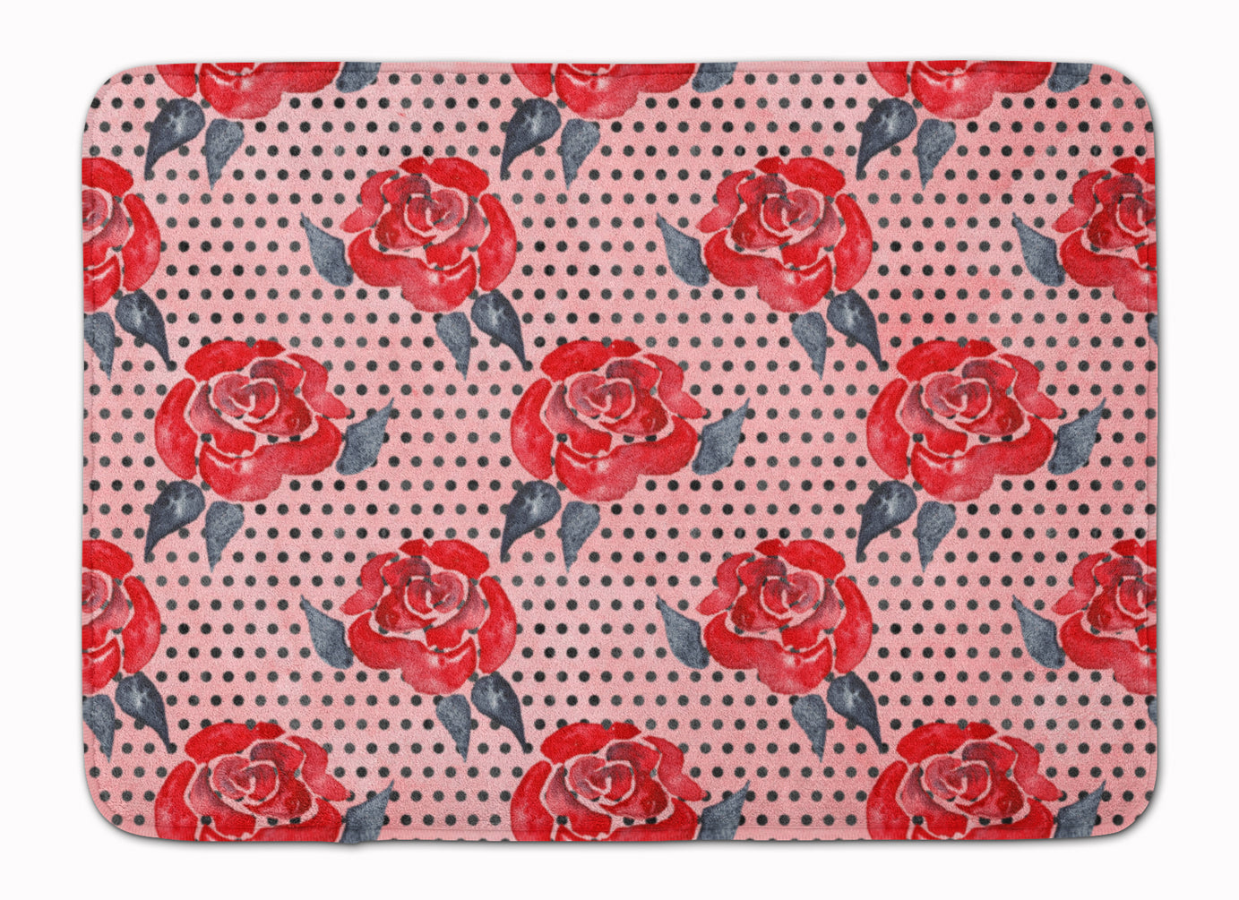 Watercolor Red Roses and Polkadots Machine Washable Memory Foam Mat BB7513RUG by Caroline's Treasures