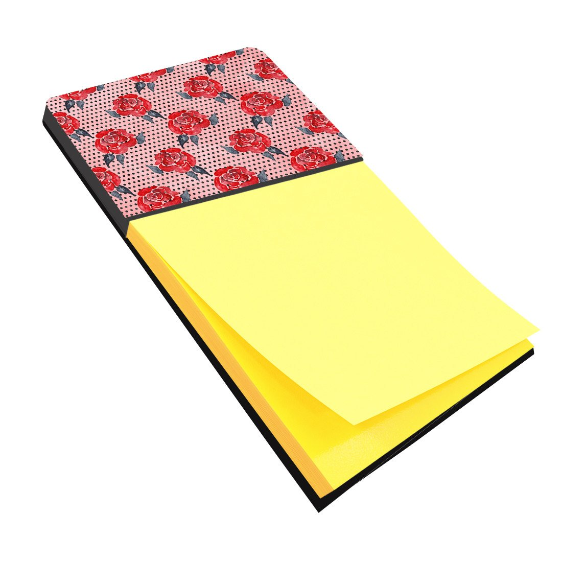 Watercolor Red Roses and Polkadots Sticky Note Holder BB7513SN by Caroline's Treasures