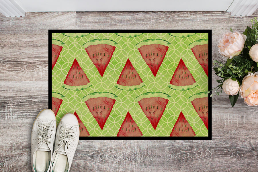 Buy this Watercolor Watermelon Indoor or Outdoor Mat 18x27 BB7518MAT