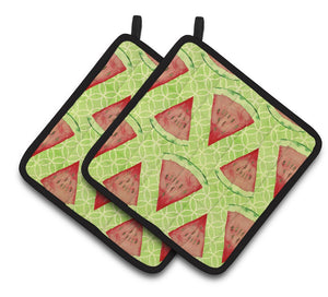 Buy this Watercolor Watermelon Pair of Pot Holders BB7518PTHD
