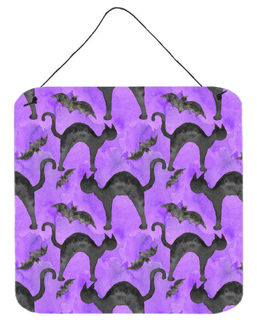 Buy this Watecolor Halloween Black Cats on Purple Wall or Door Hanging Prints BB7528DS66