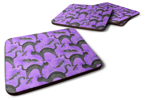 Buy this Watecolor Halloween Black Cats on Purple Foam Coaster Set of 4 BB7528FC