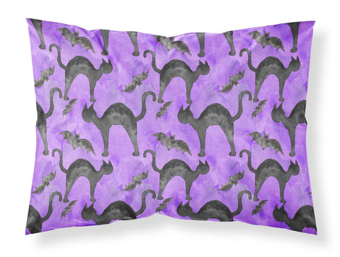Buy this Watecolor Halloween Black Cats on Purple Fabric Standard Pillowcase BB7528PILLOWCASE