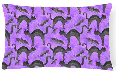 Buy this Watecolor Halloween Black Cats on Purple Canvas Fabric Decorative Pillow BB7528PW1216