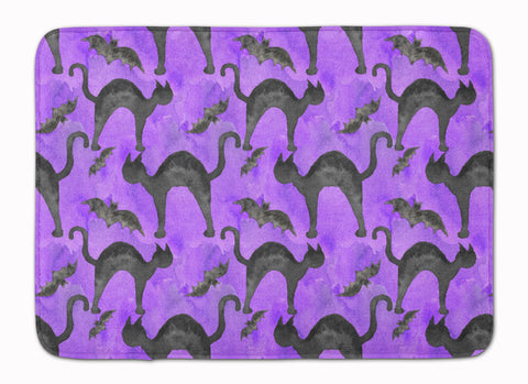 Buy this Watecolor Halloween Black Cats on Purple Machine Washable Memory Foam Mat BB7528RUG