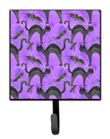 Buy this Watecolor Halloween Black Cats on Purple Leash or Key Holder BB7528SH4