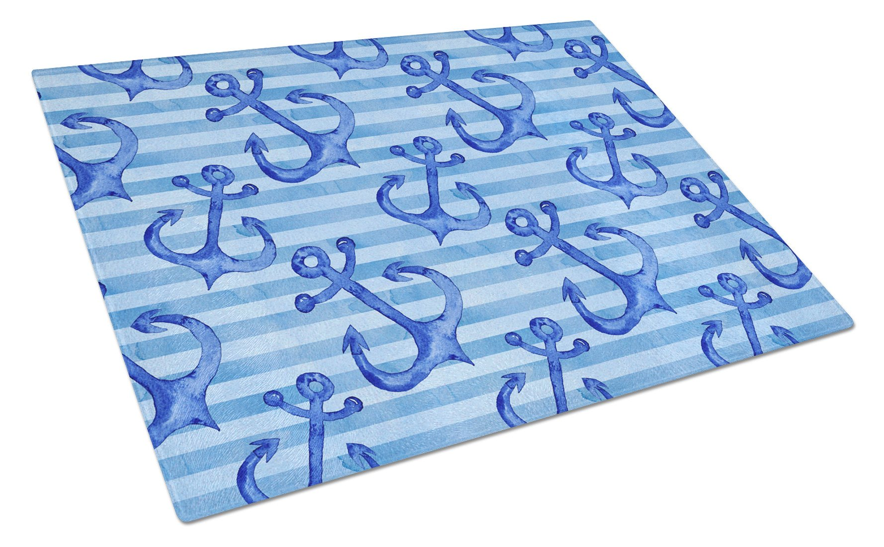 Beach Watercolor Anchors Glass Cutting Board Large BB7533LCB by Caroline's Treasures