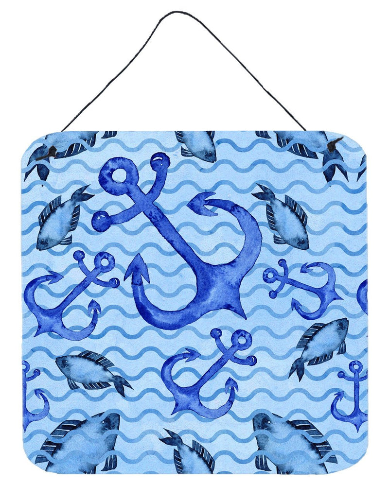 Buy this Beach Watercolor Anchors and Fish Wall or Door Hanging Prints BB7534DS66
