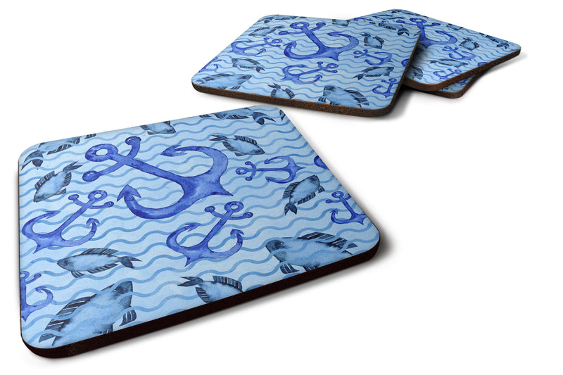 Buy this Beach Watercolor Anchors and Fish Foam Coaster Set of 4 BB7534FC