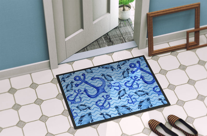 Buy this Beach Watercolor Anchors and Fish Indoor or Outdoor Mat 24x36 BB7534JMAT
