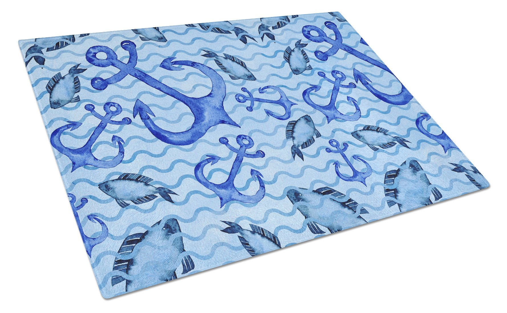 Buy this Beach Watercolor Anchors and Fish Glass Cutting Board Large BB7534LCB