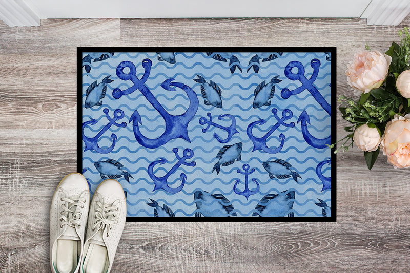 Buy this Beach Watercolor Anchors and Fish Indoor or Outdoor Mat 18x27 BB7534MAT