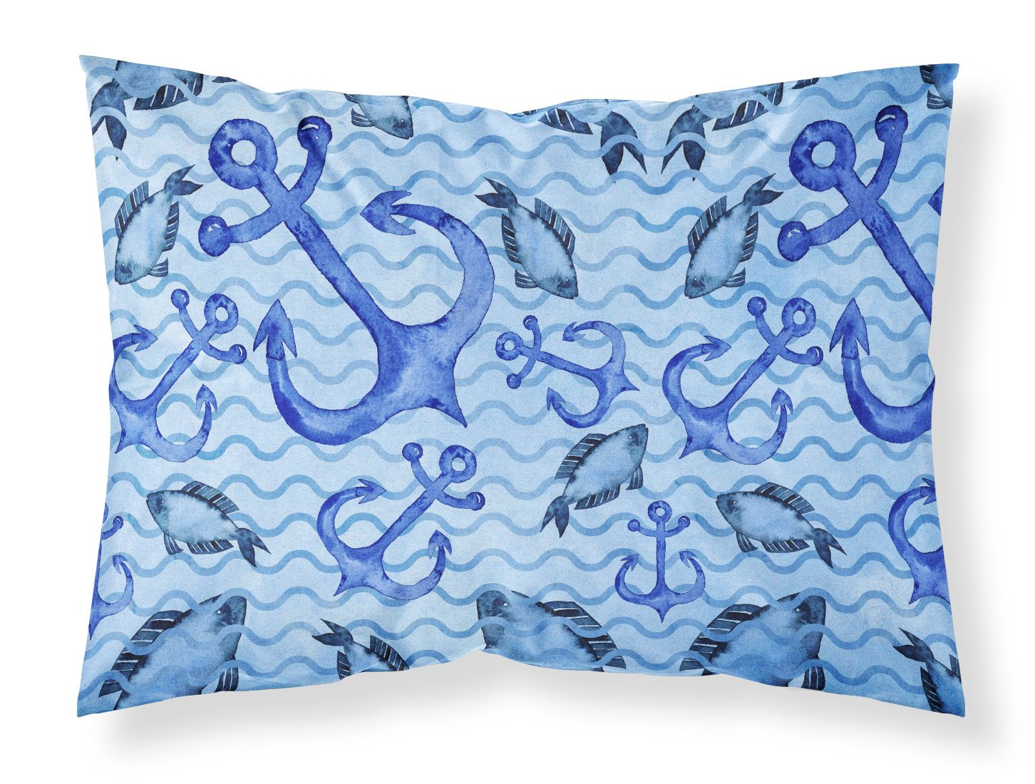 Buy this Beach Watercolor Anchors and Fish Fabric Standard Pillowcase BB7534PILLOWCASE
