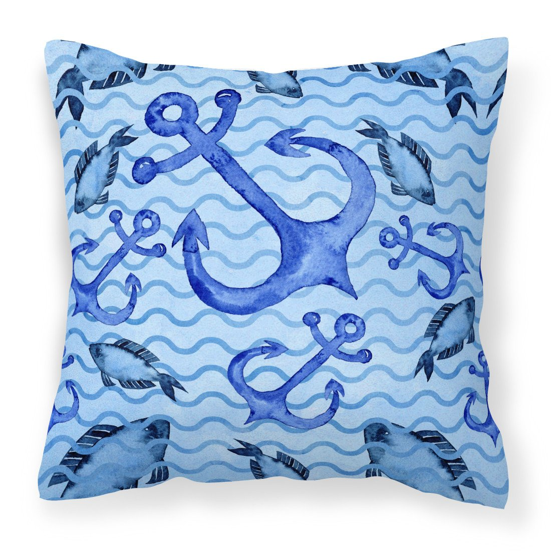 Buy this Beach Watercolor Anchors and Fish Fabric Decorative Pillow BB7534PW1818