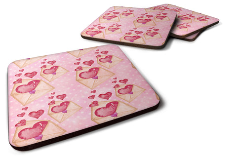 Buy this Watercolor Pink Love Letter Foam Coaster Set of 4 BB7568FC