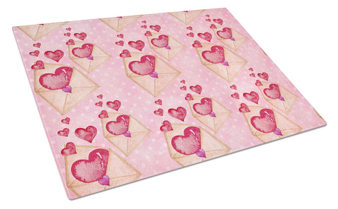 Buy this Watercolor Pink Love Letter Glass Cutting Board Large BB7568LCB