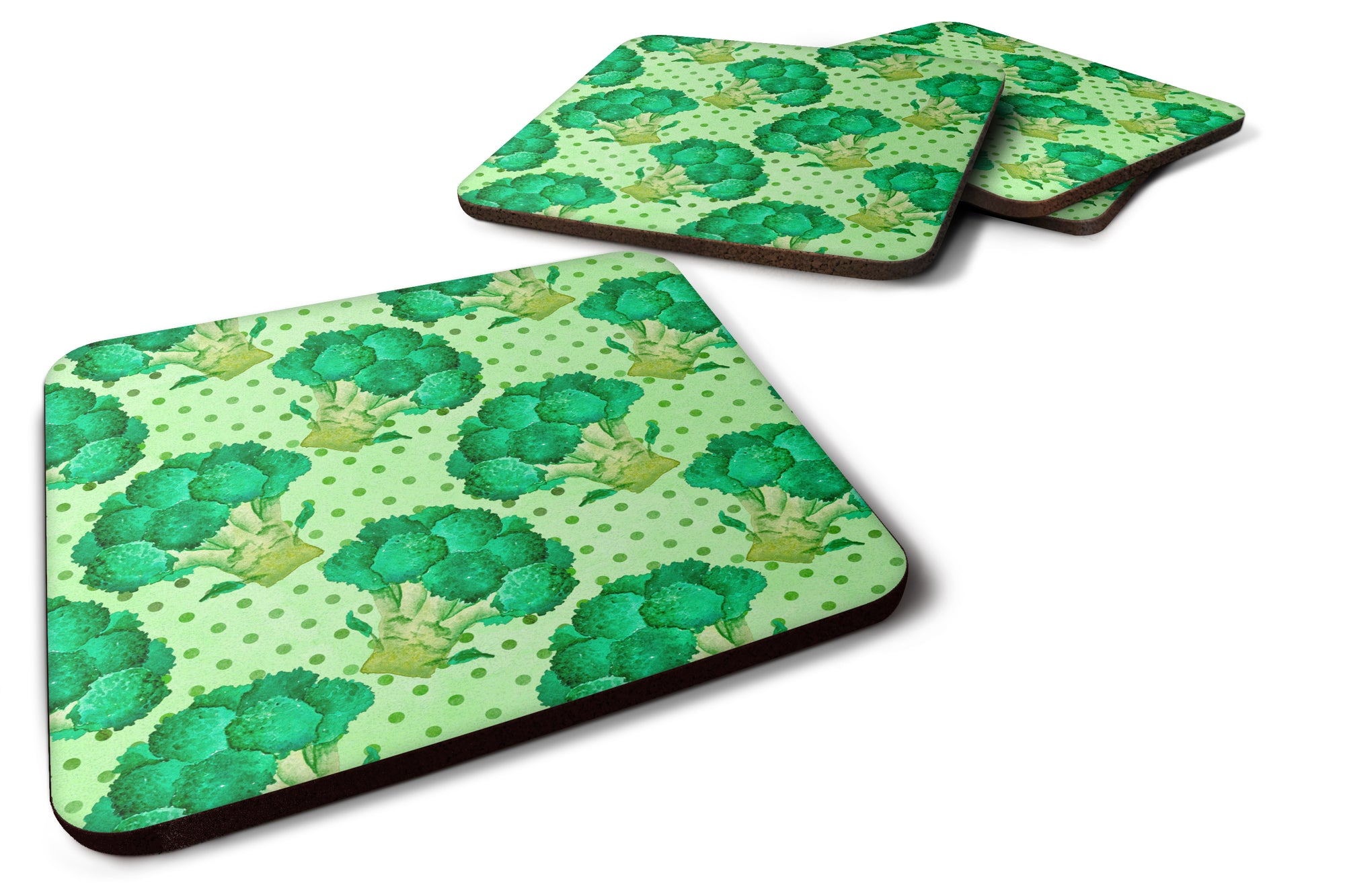 Watercolor Broccoli Foam Coaster Set of 4 BB7570FC by Caroline's Treasures