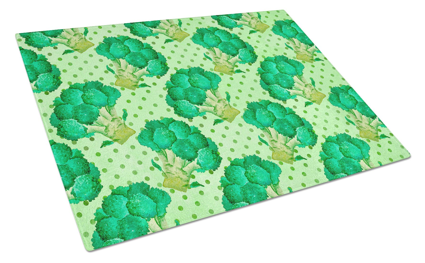 Watercolor Broccoli Glass Cutting Board Large BB7570LCB by Caroline's Treasures