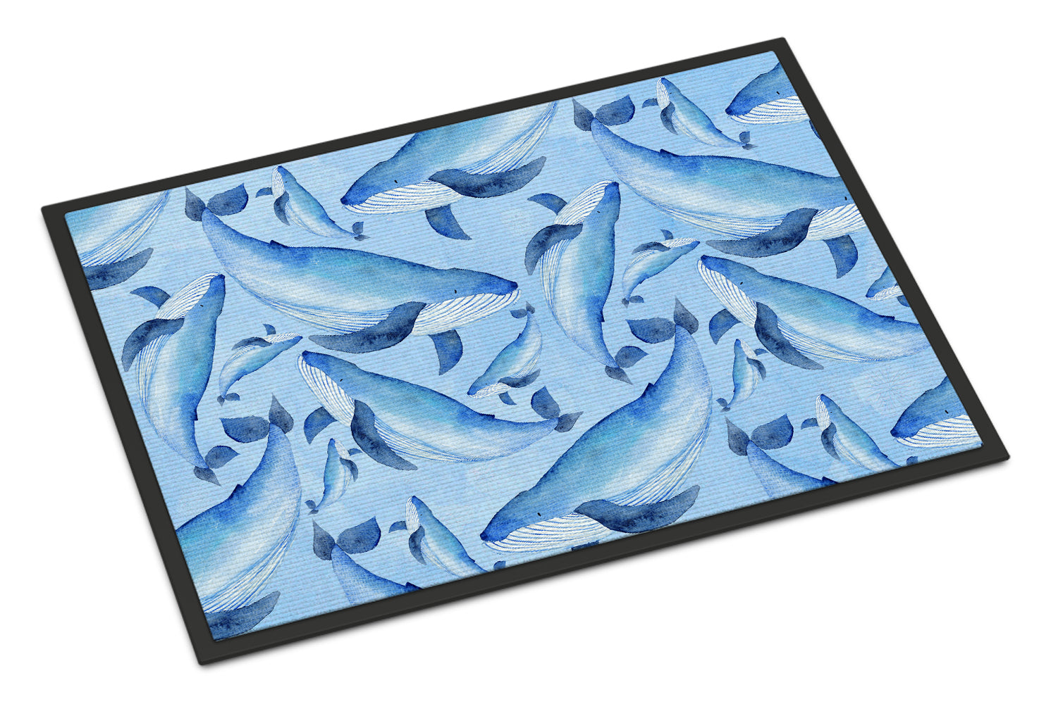 Watercolor Nautical Whales Indoor or Outdoor Mat 18x27 BB7575MAT by Caroline's Treasures