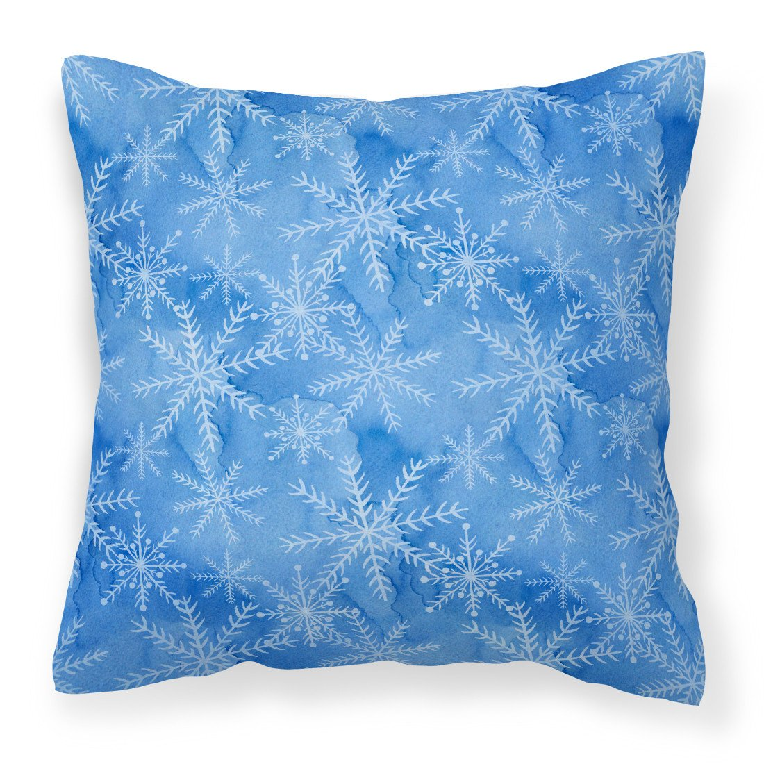 Watercolor Dark Blue Winter Snowflakes Fabric Decorative Pillow BB7576PW1818 by Caroline's Treasures