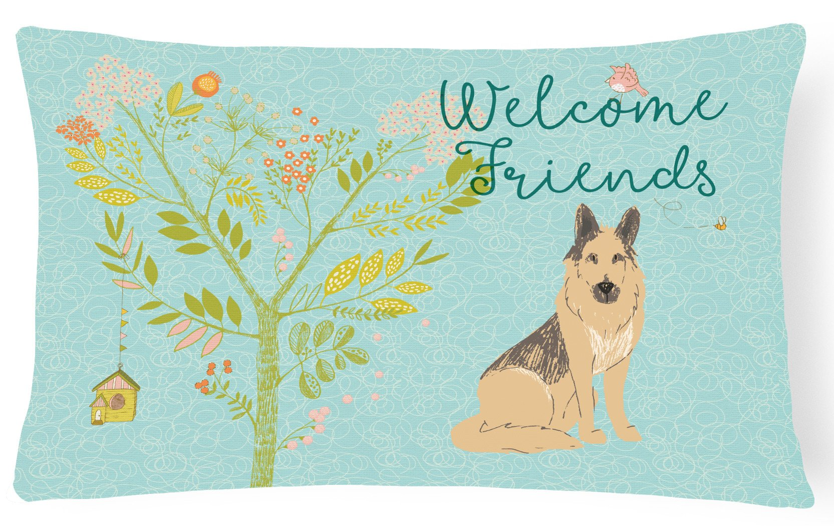 Welcome Friends German Shepherd Canvas Fabric Decorative Pillow BB7578PW1216 by Caroline's Treasures