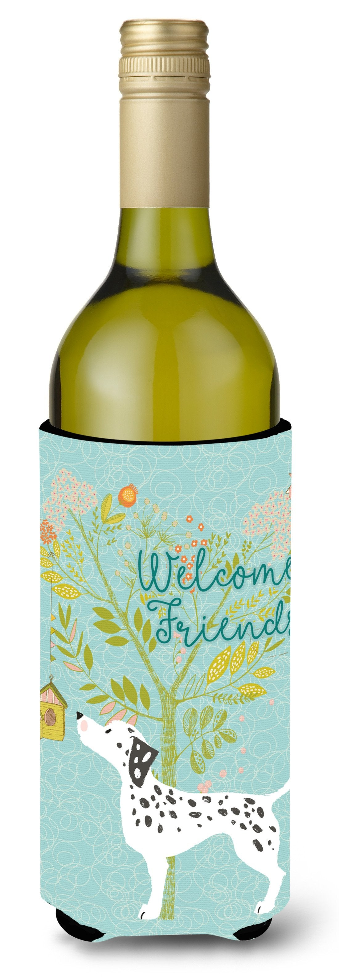 Welcome Friends Dalmatian Wine Bottle Beverge Insulator Hugger BB7585LITERK by Caroline's Treasures