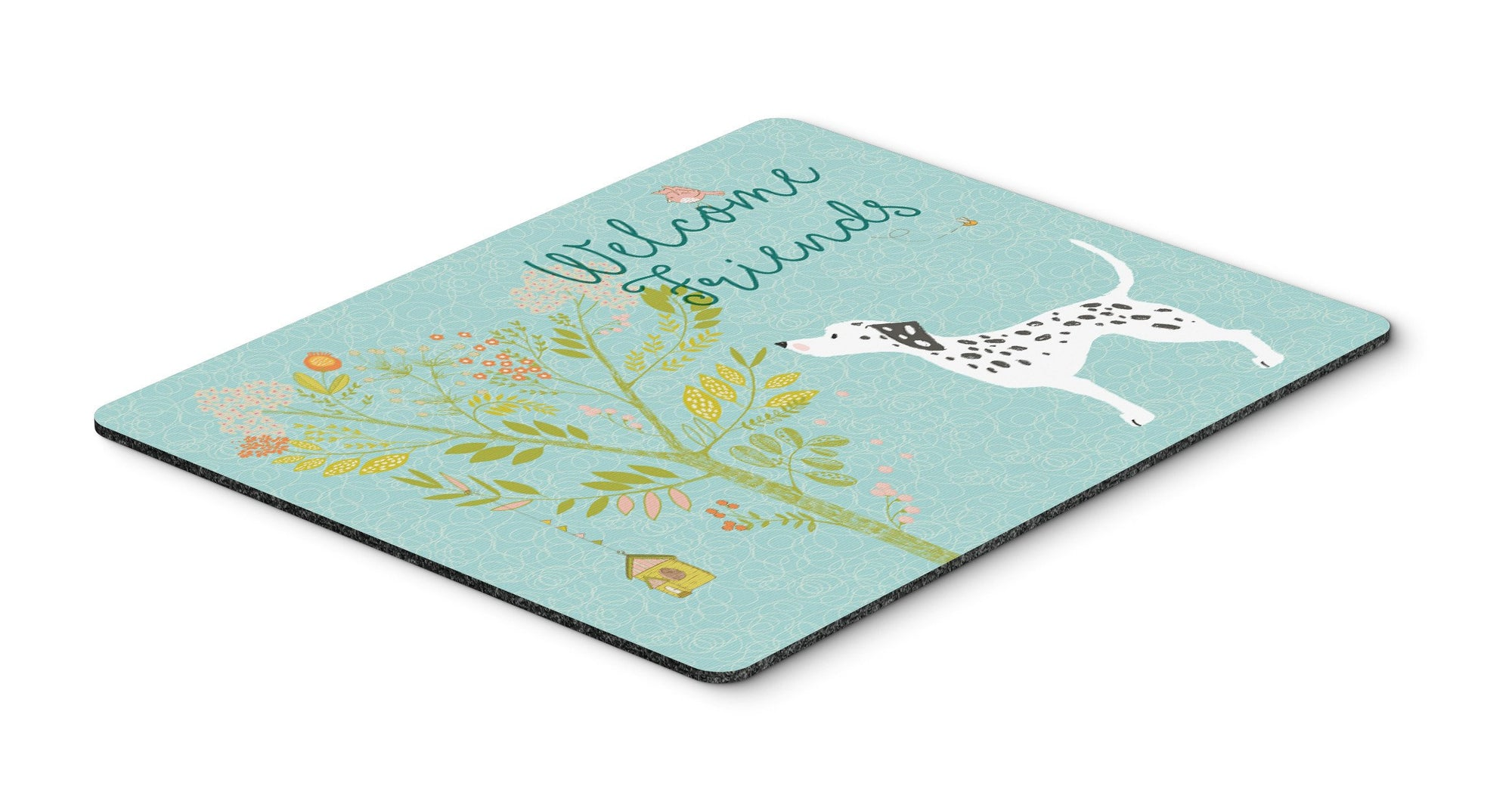 Welcome Friends Dalmatian Mouse Pad, Hot Pad or Trivet BB7585MP by Caroline's Treasures