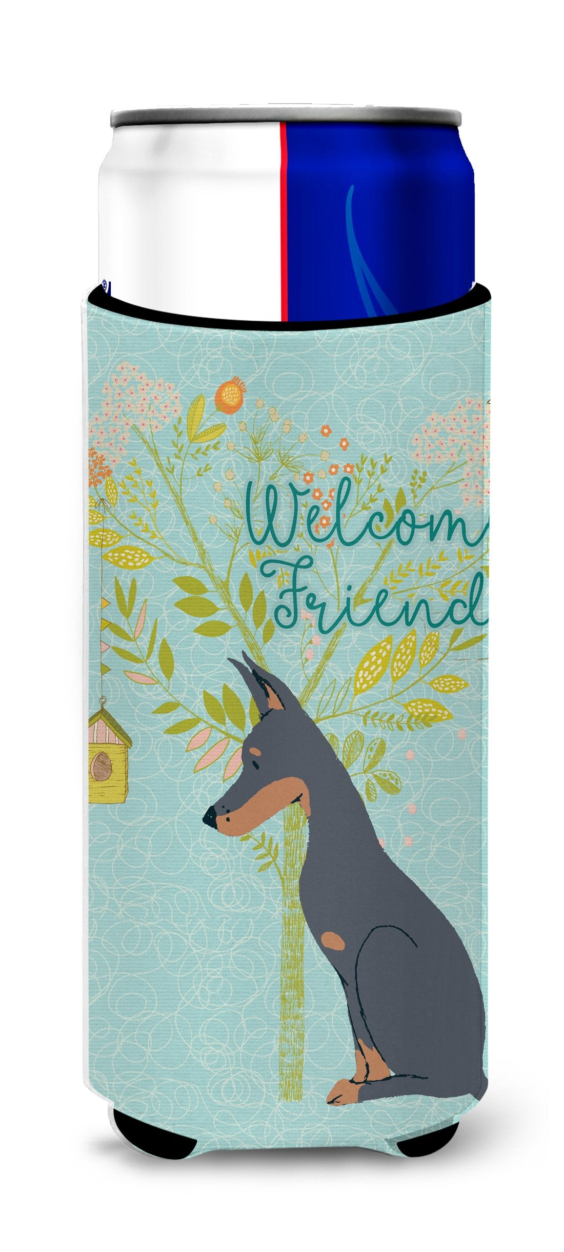 Buy this Welcome Friends Doberman Pinscher Michelob Ultra Hugger for slim cans BB7586MUK