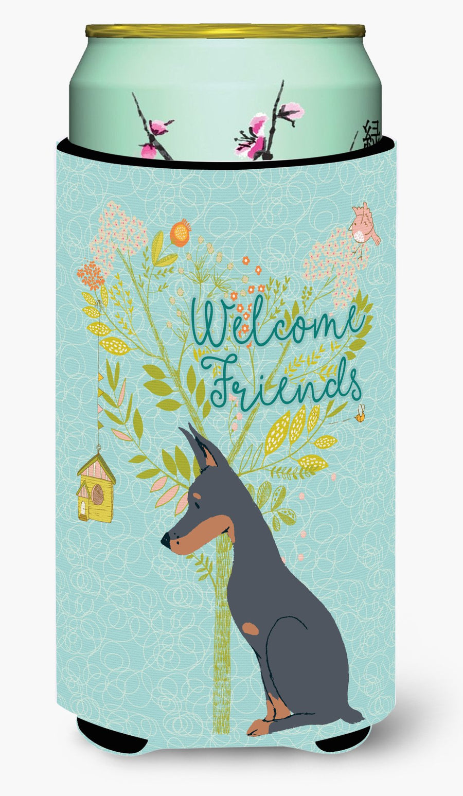 Buy this Welcome Friends Doberman Pinscher Tall Boy Beverage Insulator Hugger BB7586TBC
