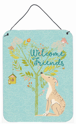 Buy this Welcome Friends Brindle Greyhound Wall or Door Hanging Prints BB7591DS1216